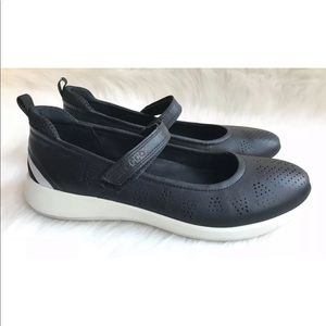 Ecco Shoes - Ecco Soft 5 Mary Jane Black Leather Shoes